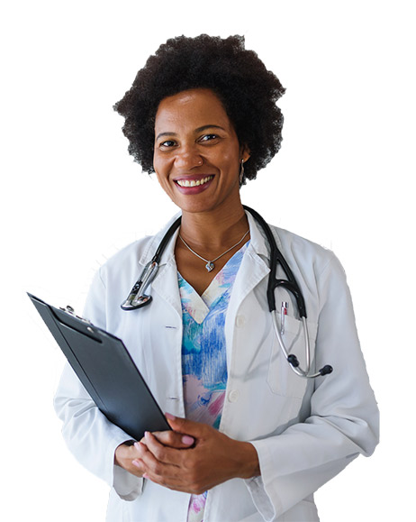 An african american primary care physician smiling at the camera.