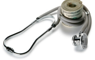 A-roll-of-money-with-a-stethoscope-around-it. Representing the ability to provide quality care and save money.